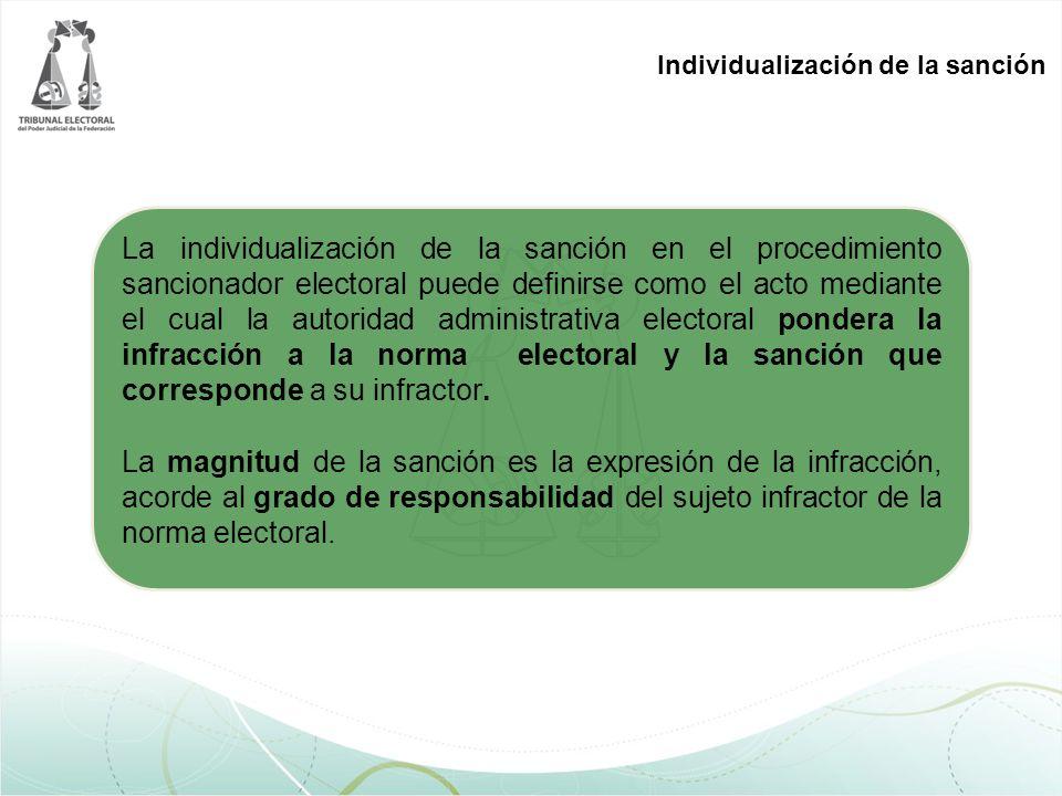 Individualización de la sanción La individualización de la sanción en el procedimiento sancionador electoral puede definirse como el acto mediante el