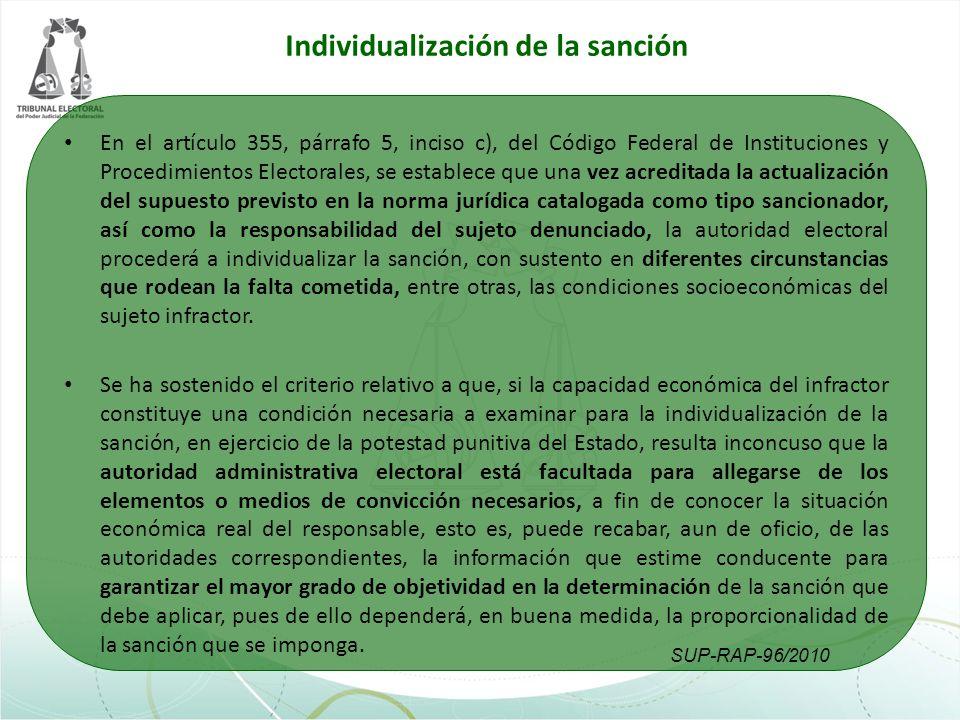 Individualización de la sanción En el artículo 355, párrafo 5, inciso c), del Código Federal de Instituciones y Procedimientos Electorales, se estable