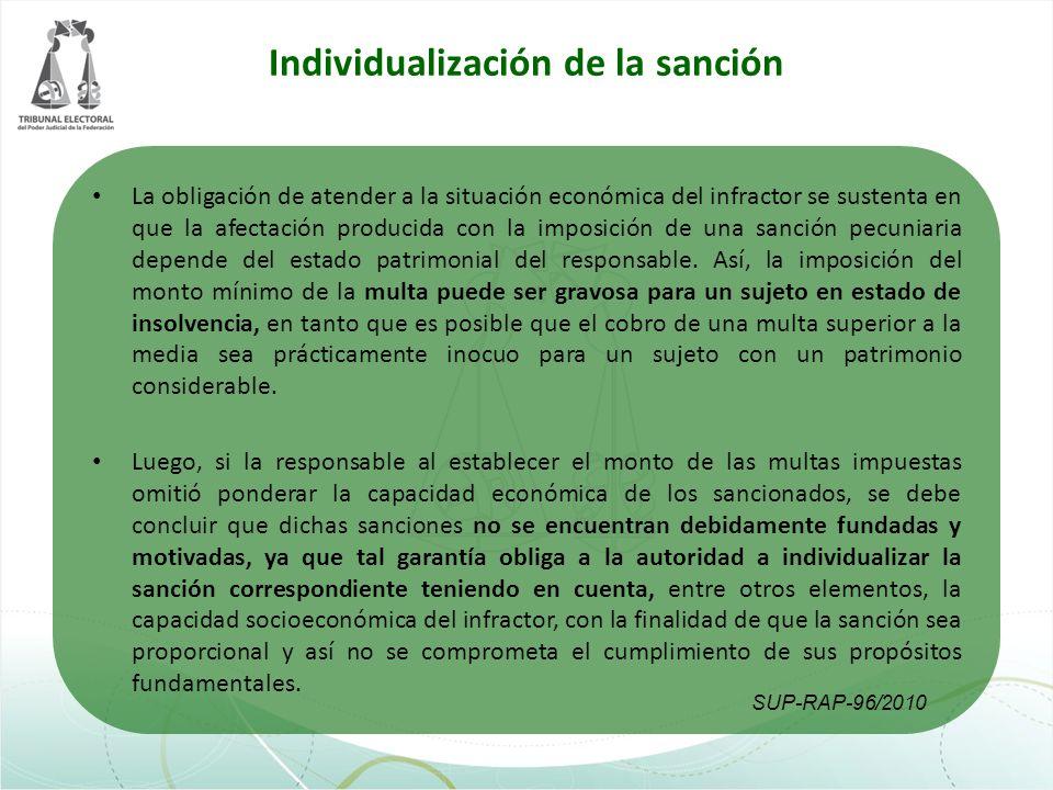 Individualización de la sanción La obligación de atender a la situación económica del infractor se sustenta en que la afectación producida con la impo