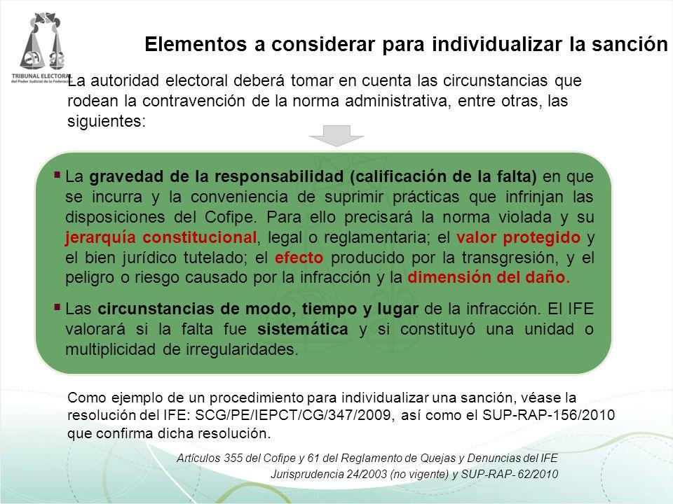 La autoridad electoral deberá tomar en cuenta las circunstancias que rodean la contravención de la norma administrativa, entre otras, las siguientes: