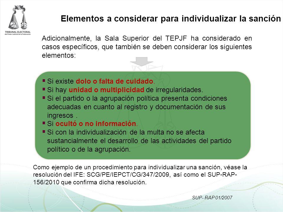 SUP- RAP 01/2007 Adicionalmente, la Sala Superior del TEPJF ha considerado en casos específicos, que también se deben considerar los siguientes elemen