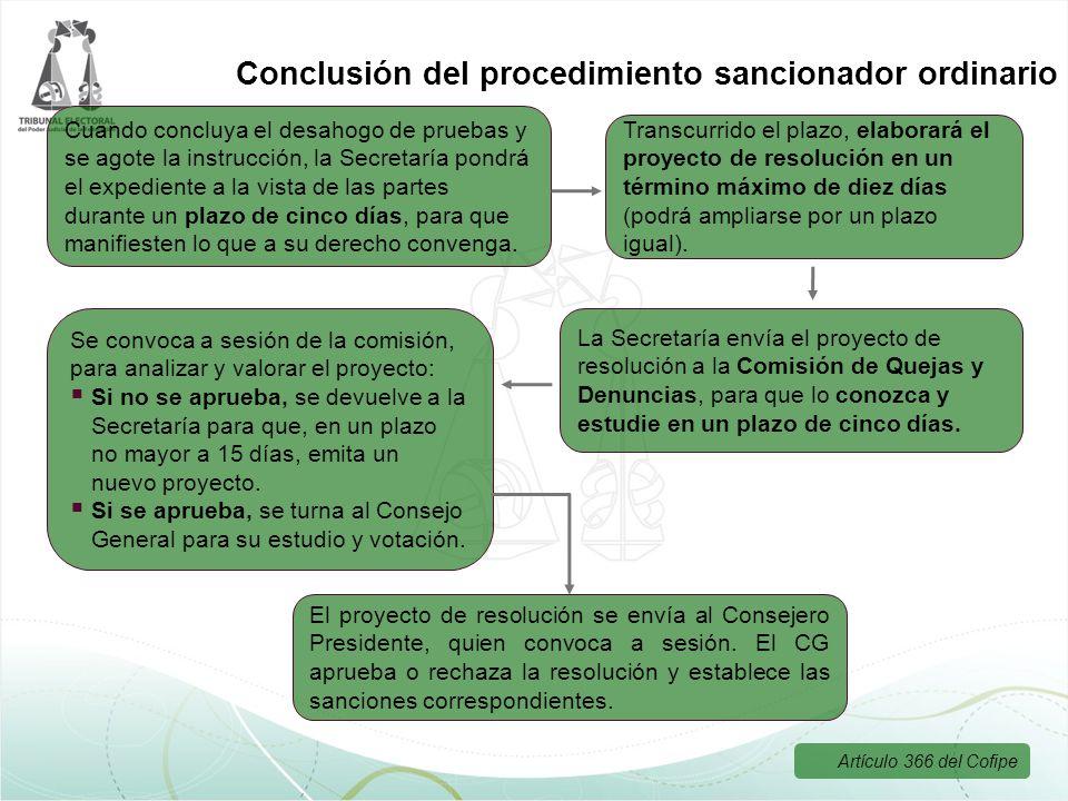 Cuando concluya el desahogo de pruebas y se agote la instrucción, la Secretaría pondrá el expediente a la vista de las partes durante un plazo de cinc