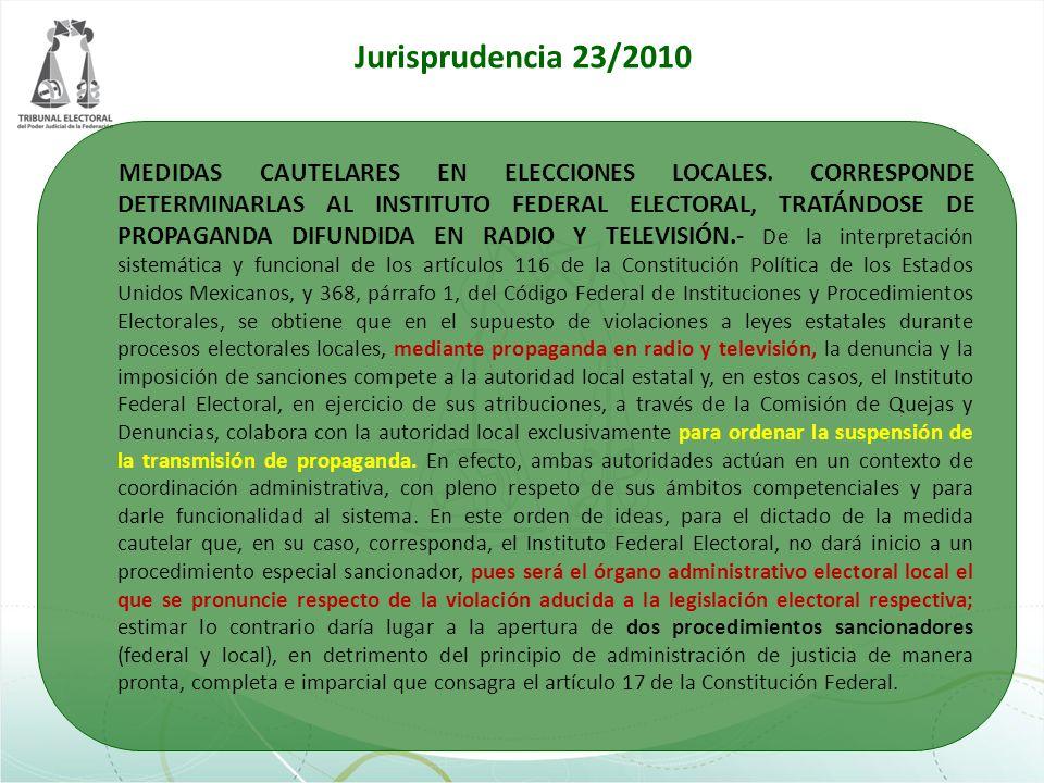 MEDIDAS CAUTELARES EN ELECCIONES LOCALES. CORRESPONDE DETERMINARLAS AL INSTITUTO FEDERAL ELECTORAL, TRATÁNDOSE DE PROPAGANDA DIFUNDIDA EN RADIO Y TELE
