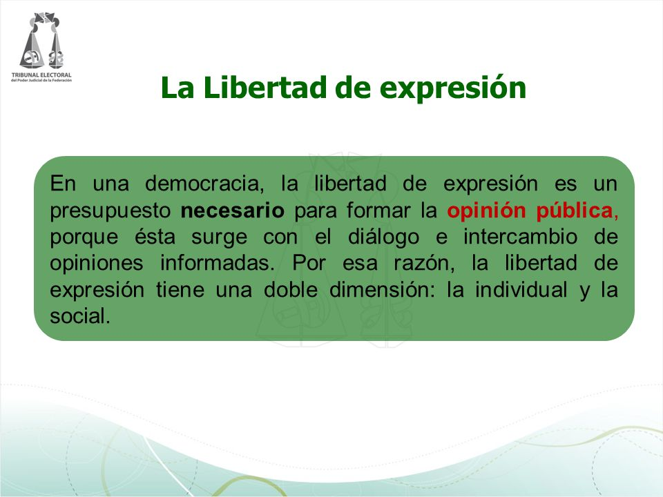 En una democracia, la libertad de expresión es un presupuesto necesario para formar la opinión pública, porque ésta surge con el diálogo e intercambio