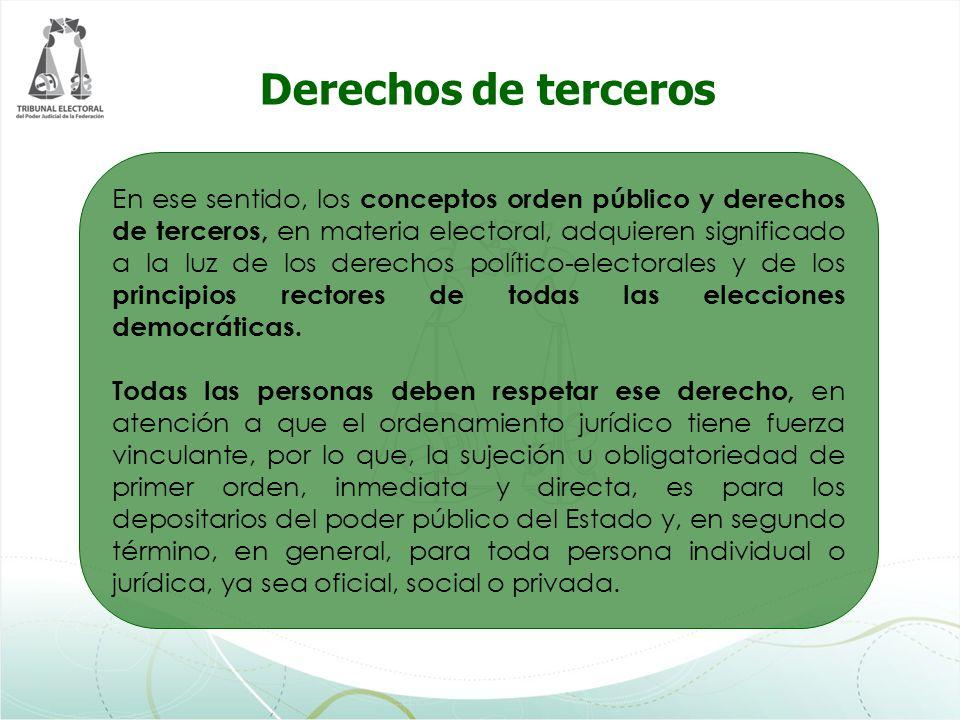 En ese sentido, los conceptos orden público y derechos de terceros, en materia electoral, adquieren significado a la luz de los derechos político-elec