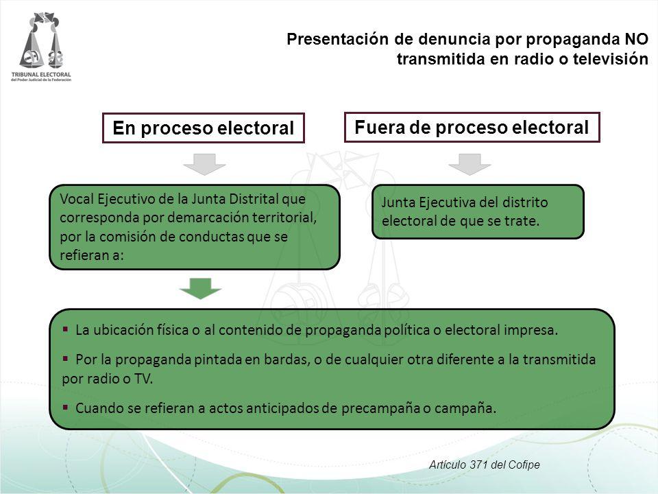 En proceso electoral La ubicación física o al contenido de propaganda política o electoral impresa. Por la propaganda pintada en bardas, o de cualquie