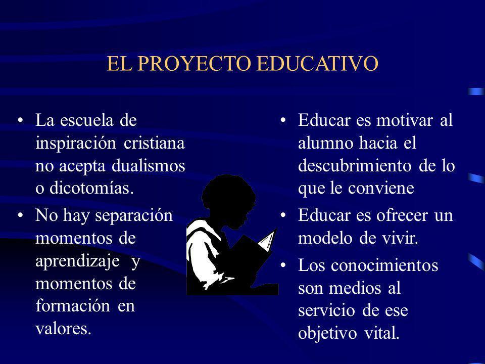 EL PROYECTO EDUCATIVO La escuela de inspiración cristiana no acepta dualismos o dicotomías.