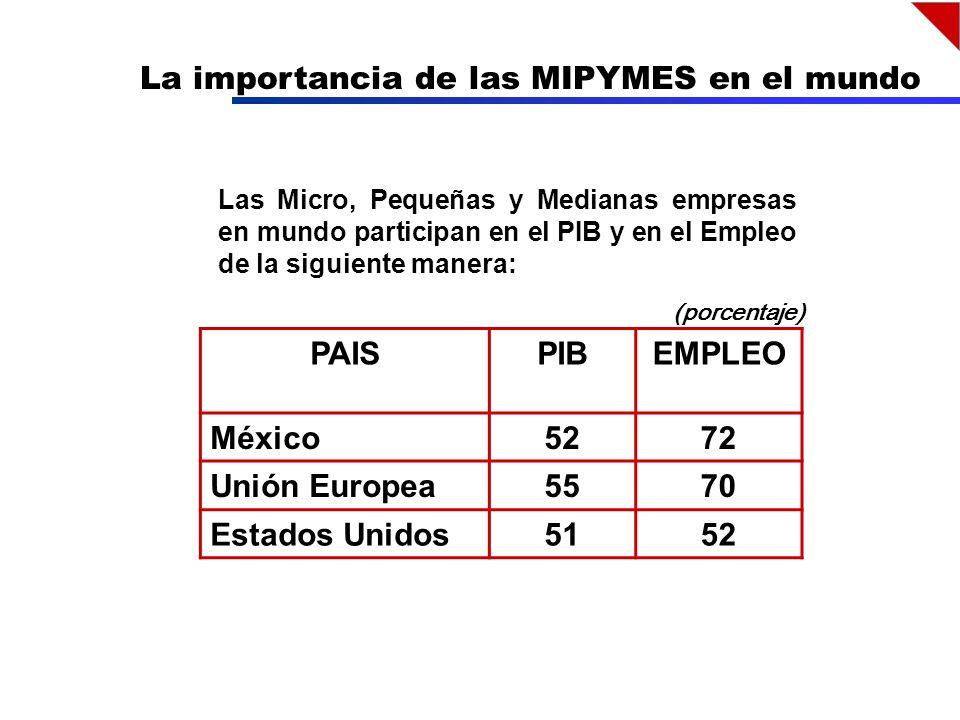 La importancia de las MIPYMES en el mundo PAISPIBEMPLEO México5272 Unión Europea5570 Estados Unidos5152 (porcentaje) Las Micro, Pequeñas y Medianas empresas en mundo participan en el PIB y en el Empleo de la siguiente manera: