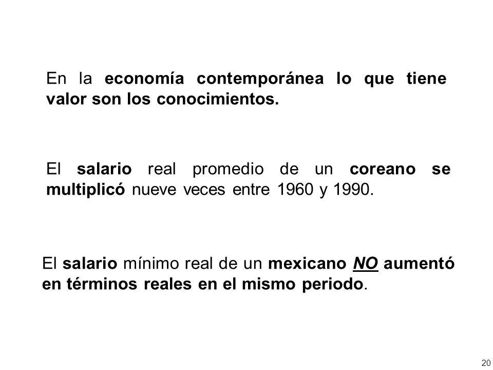 En la economía contemporánea lo que tiene valor son los conocimientos.