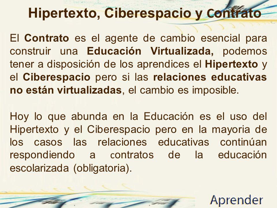 Hipertexto, Ciberespacio y C ontrato El Contrato es el agente de cambio esencial para construir una Educación Virtualizada, podemos tener a disposició