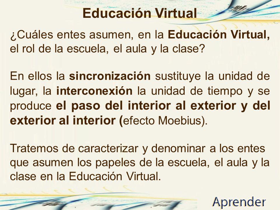 Educación Virtual ¿Cuáles entes asumen, en la Educación Virtual, el rol de la escuela, el aula y la clase? En ellos la sincronización sustituye la uni