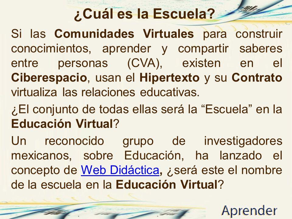 ¿Cuál es la Escuela? Si las Comunidades Virtuales para construir conocimientos, aprender y compartir saberes entre personas (CVA), existen en el Ciber