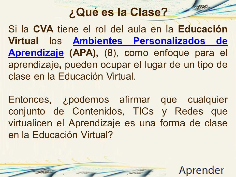 ¿Qué es la Clase? Si la CVA tiene el rol del aula en la Educación Virtual los Ambientes Personalizados de Aprendizaje (APA), (8), como enfoque para el