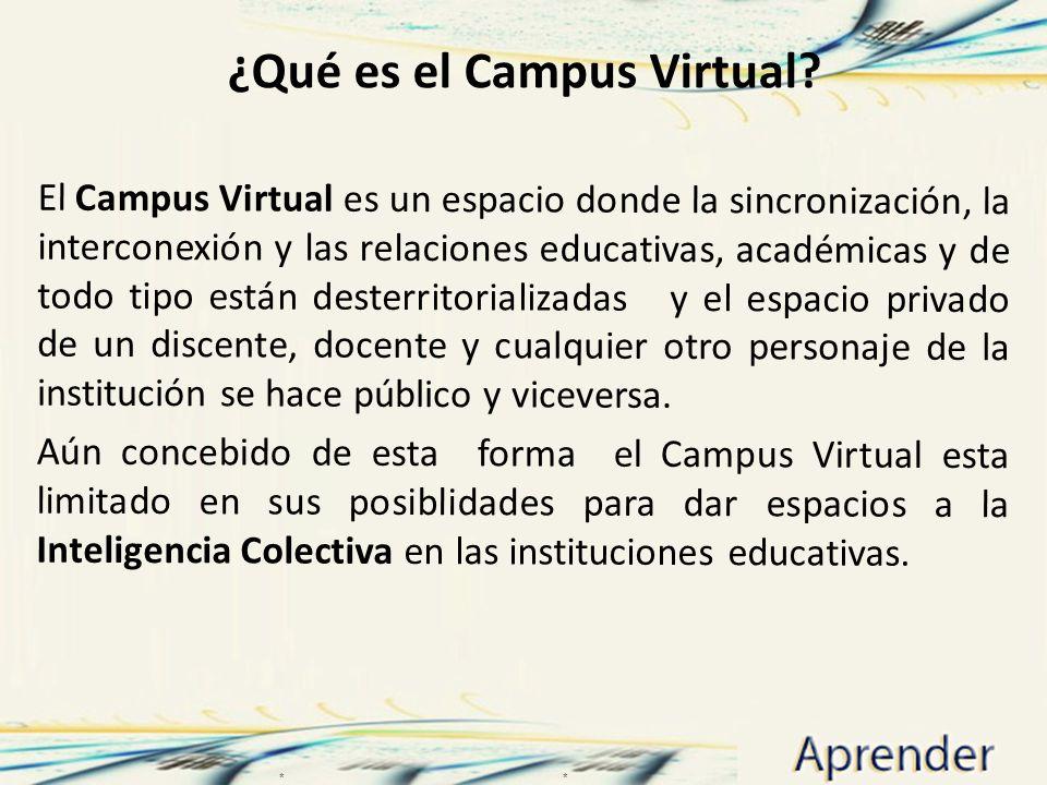 ¿Qué es el Campus Virtual? El Campus Virtual es un espacio donde la sincronización, la interconexión y las relaciones educativas, académicas y de todo