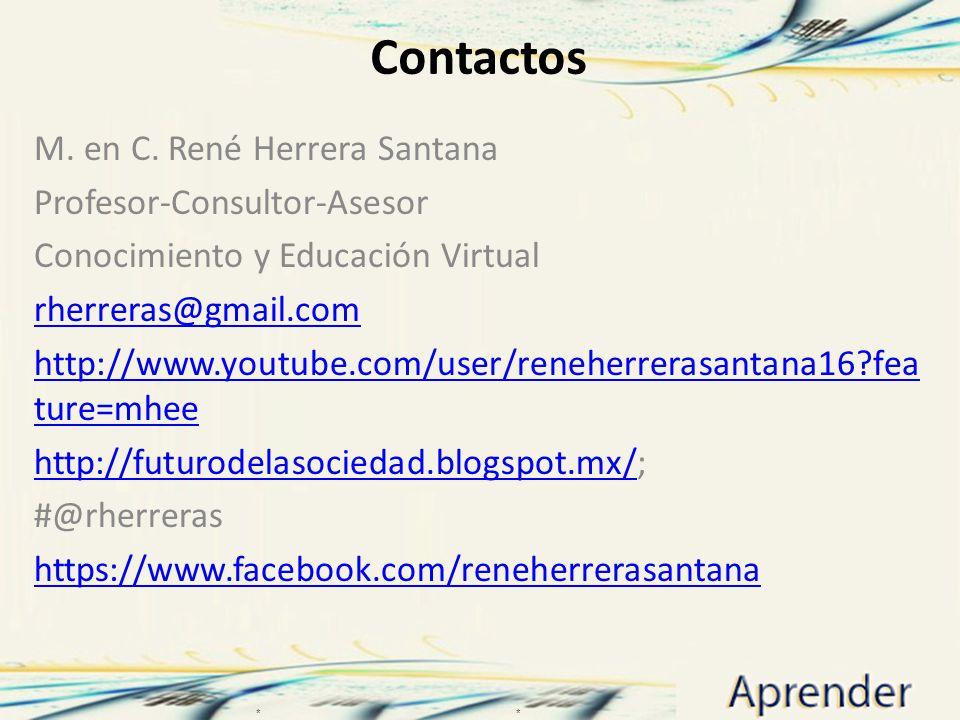 Contactos M. en C. René Herrera Santana Profesor-Consultor-Asesor Conocimiento y Educación Virtual rherreras@gmail.com http://www.youtube.com/user/ren