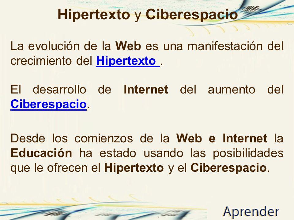 Hipertexto y Ciberespacio La evolución de la Web es una manifestación del crecimiento del Hipertexto.Hipertexto El desarrollo de Internet del aumento
