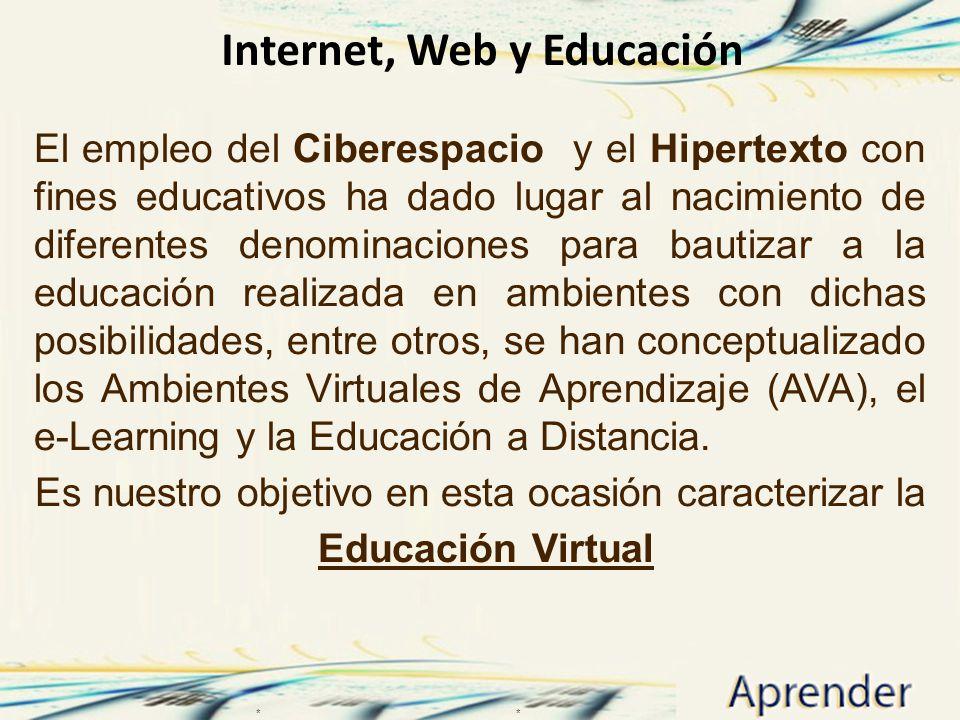 Internet, Web y Educación El empleo del Ciberespacio y el Hipertexto con fines educativos ha dado lugar al nacimiento de diferentes denominaciones para bautizar a la educación realizada en ambientes con dichas posibilidades, entre otros, se han conceptualizado los Ambientes Virtuales de Aprendizaje (AVA), el e-Learning y la Educación a Distancia.