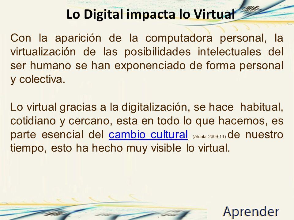 Lo Digital impacta lo Virtual Con la aparición de la computadora personal, la virtualización de las posibilidades intelectuales del ser humano se han exponenciado de forma personal y colectiva.