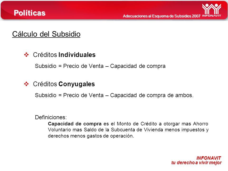 INFONAVIT tu derecho a vivir mejor tu derecho a vivir mejor Adecuaciones al Esquema de Subsidios 2007 Cálculo del Subsidio Créditos Individuales Subsi