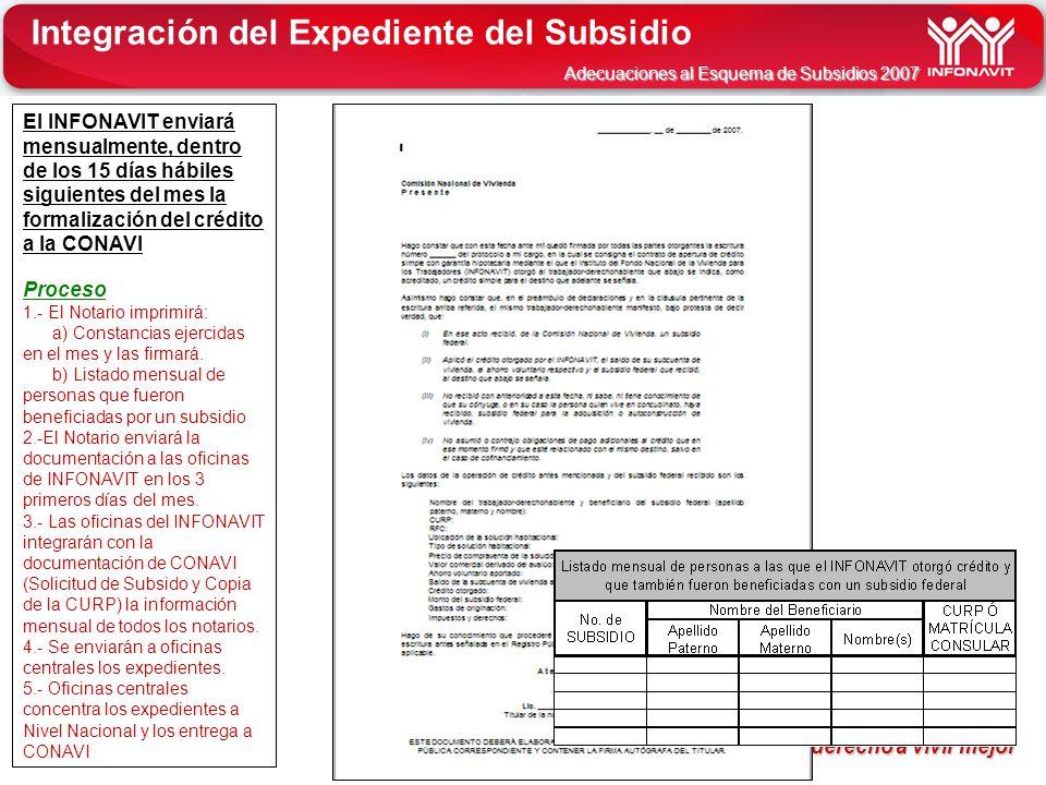 INFONAVIT tu derecho a vivir mejor tu derecho a vivir mejor Adecuaciones al Esquema de Subsidios 2007 El INFONAVIT enviará mensualmente, dentro de los
