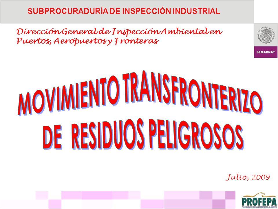 SUBPROCURADURÍA DE INSPECCIÓN INDUSTRIAL Dirección General de Inspección Ambiental en Puertos, Aeropuertos y Fronteras Julio, 2009