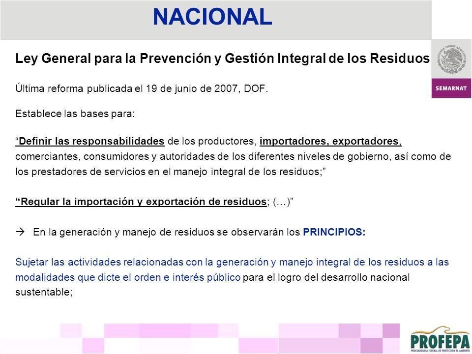 Ley General para la Prevención y Gestión Integral de los Residuos Última reforma publicada el 19 de junio de 2007, DOF. Establece las bases para: Defi