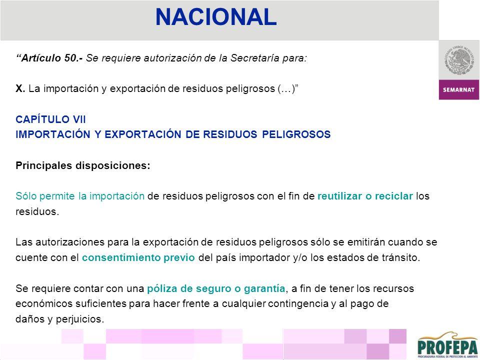 Artículo 50.- Se requiere autorización de la Secretaría para: X. La importación y exportación de residuos peligrosos (…) CAPÍTULO VII IMPORTACIÓN Y EX