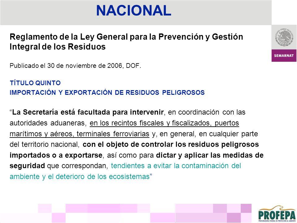 Reglamento de la Ley General para la Prevención y Gestión Integral de los Residuos Publicado el 30 de noviembre de 2006, DOF. TÍTULO QUINTO IMPORTACIÓ