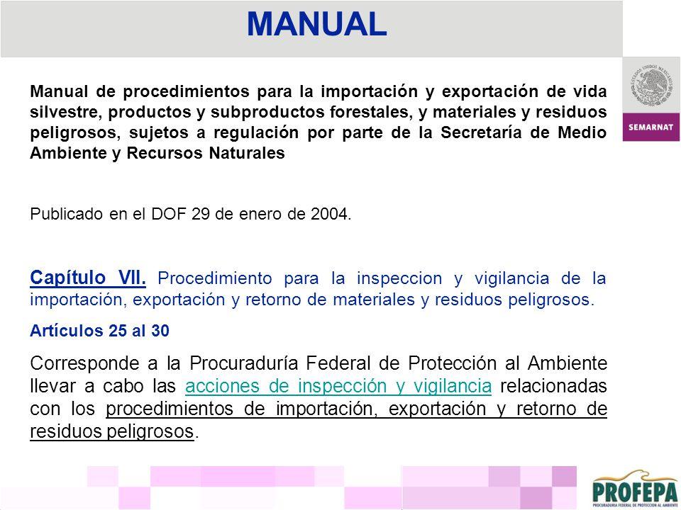 MANUAL Manual de procedimientos para la importación y exportación de vida silvestre, productos y subproductos forestales, y materiales y residuos peli