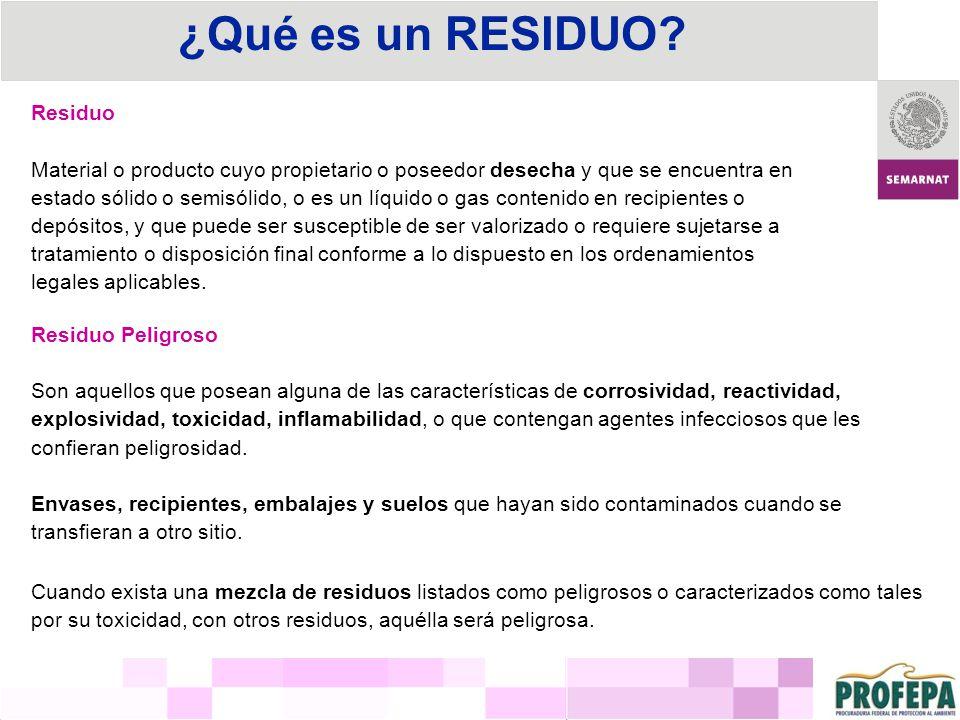 Residuo Material o producto cuyo propietario o poseedor desecha y que se encuentra en estado sólido o semisólido, o es un líquido o gas contenido en r