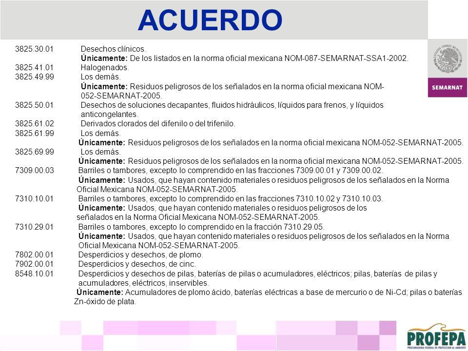 ACUERDO 3825.30.01 Desechos clínicos. Únicamente: De los listados en la norma oficial mexicana NOM-087-SEMARNAT-SSA1-2002. 3825.41.01 Halogenados. 382