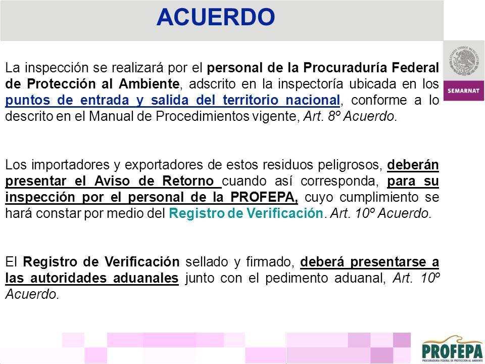 ACUERDO La inspección se realizará por el personal de la Procuraduría Federal de Protección al Ambiente, adscrito en la inspectoría ubicada en los pun