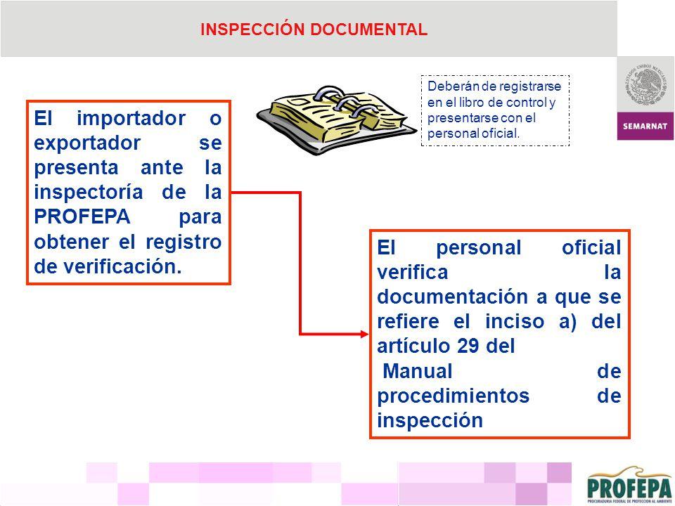 El importador o exportador se presenta ante la inspectoría de la PROFEPA para obtener el registro de verificación. El personal oficial verifica la doc