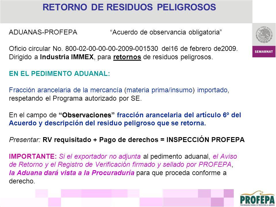RETORNO DE RESIDUOS PELIGROSOS ADUANAS-PROFEPA Acuerdo de observancia obligatoria Oficio circular No. 800-02-00-00-00-2009-001530 del16 de febrero de2