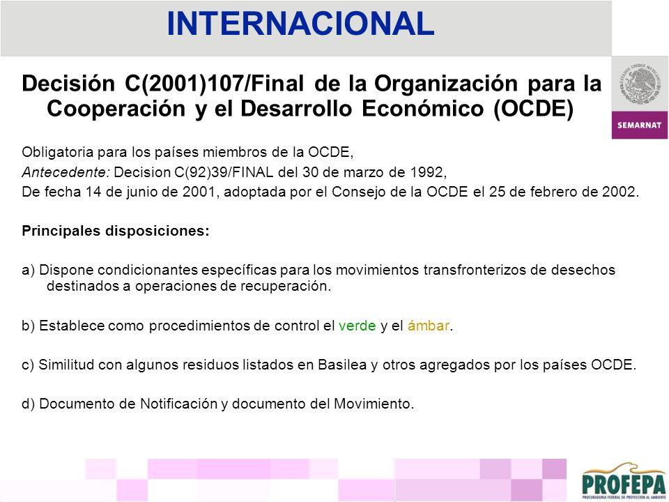 Decisión C(2001)107/Final de la Organización para la Cooperación y el Desarrollo Económico (OCDE) Obligatoria para los países miembros de la OCDE, Ant