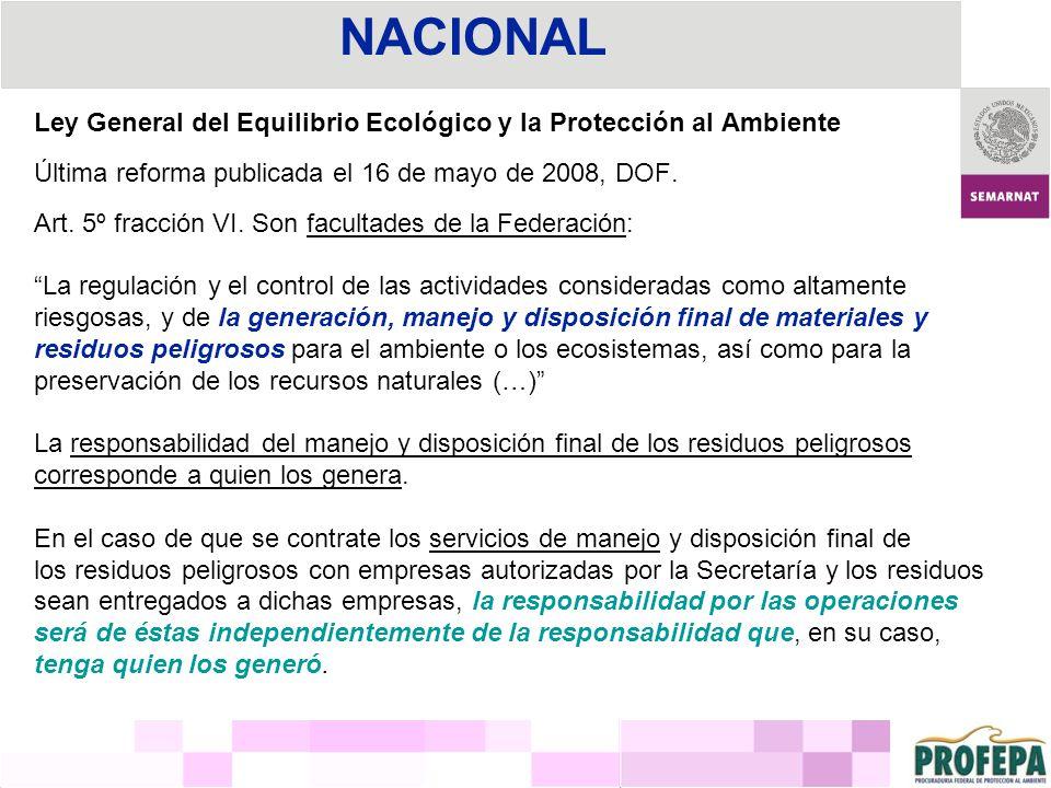 Ley General del Equilibrio Ecológico y la Protección al Ambiente Última reforma publicada el 16 de mayo de 2008, DOF. Art. 5º fracción VI. Son faculta
