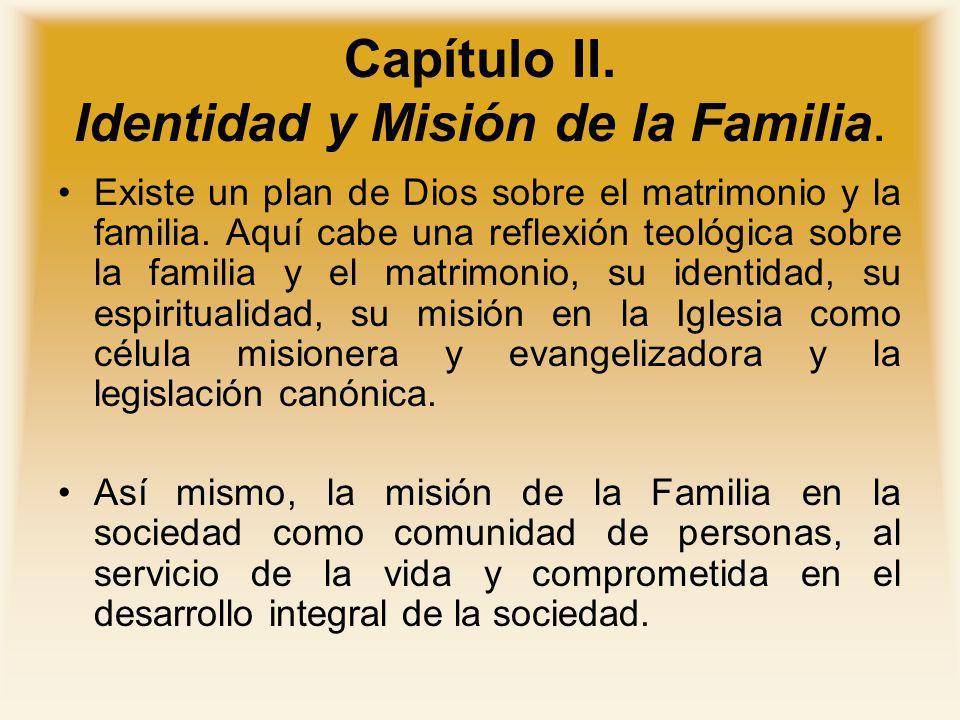 Capítulo II. Identidad y Misión de la Familia. Existe un plan de Dios sobre el matrimonio y la familia. Aquí cabe una reflexión teológica sobre la fam