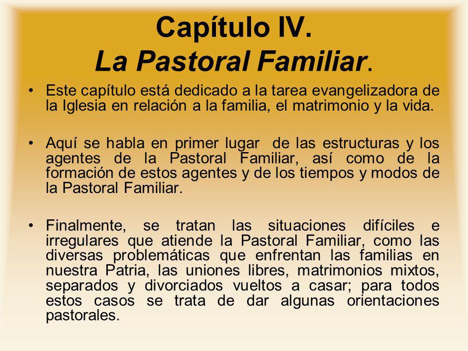 Capítulo IV. La Pastoral Familiar. Este capítulo está dedicado a la tarea evangelizadora de la Iglesia en relación a la familia, el matrimonio y la vi