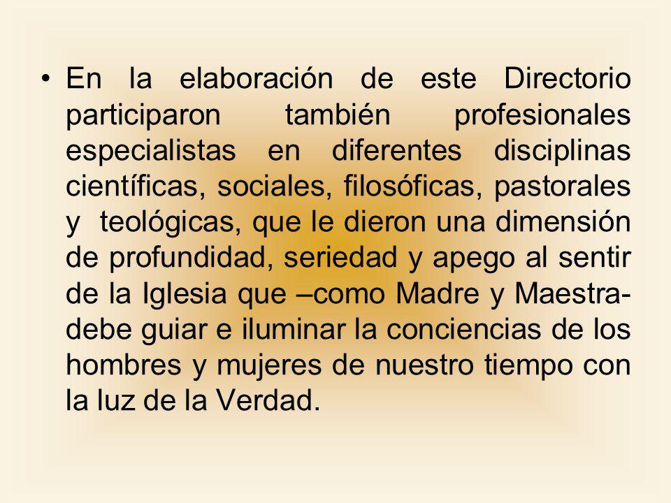El Documento El Directorio gira en torno a tres ejes: el matrimonio, la familia y la vida Son tres elementos inseparables que mutuamente se complementan e iluminan.