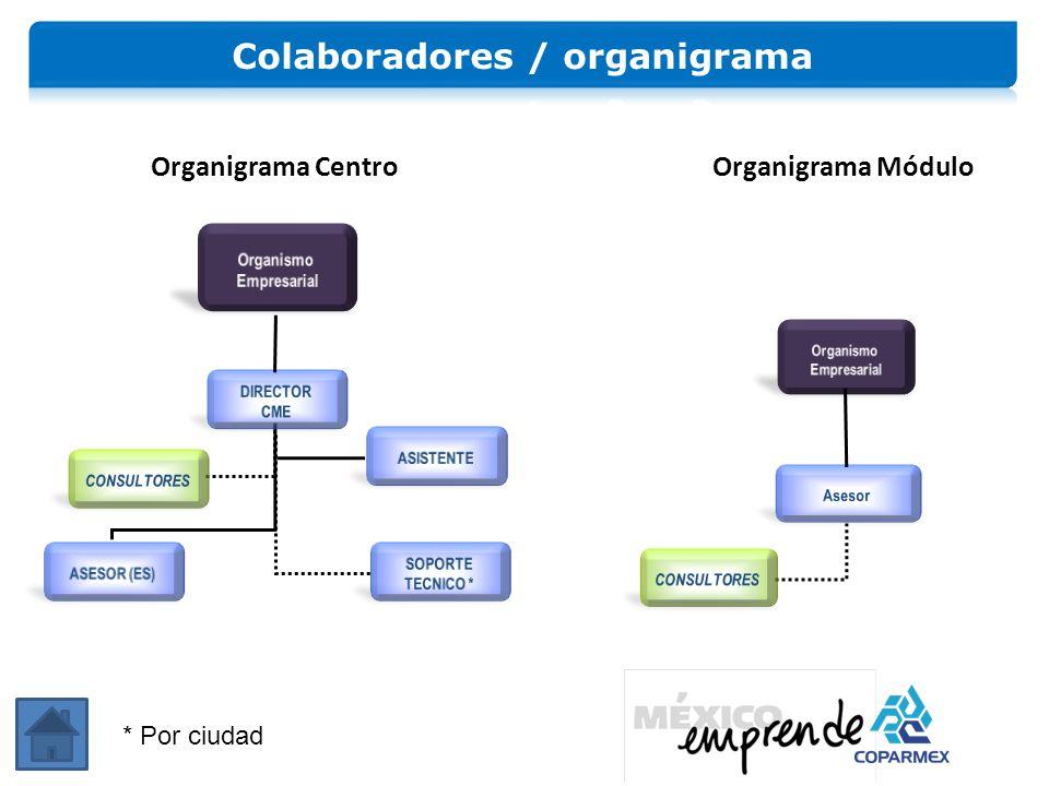 Organigrama Centro Organigrama Módulo * Por ciudad
