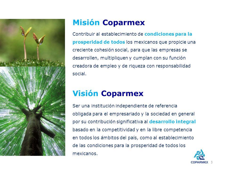 Coparmex es… representación La COPARMEX es una organización que aspira ejercer la representación empresarial, es decir, ser escucha y resonancia de las necesidades, valores e intereses de los empresarios dentro de la sociedad mexicana: ser voz de los que no saben o no pueden tenerla.