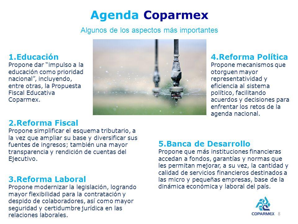 1.Educación Propone dar impulso a la educación como prioridad nacional, incluyendo, entre otras, la Propuesta Fiscal Educativa Coparmex.