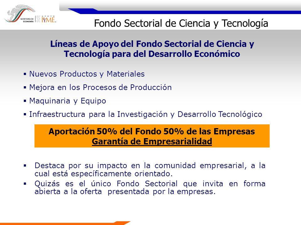 Líneas de Apoyo del Fondo Sectorial de Ciencia y Tecnología para del Desarrollo Económico Nuevos Productos y Materiales Mejora en los Procesos de Prod