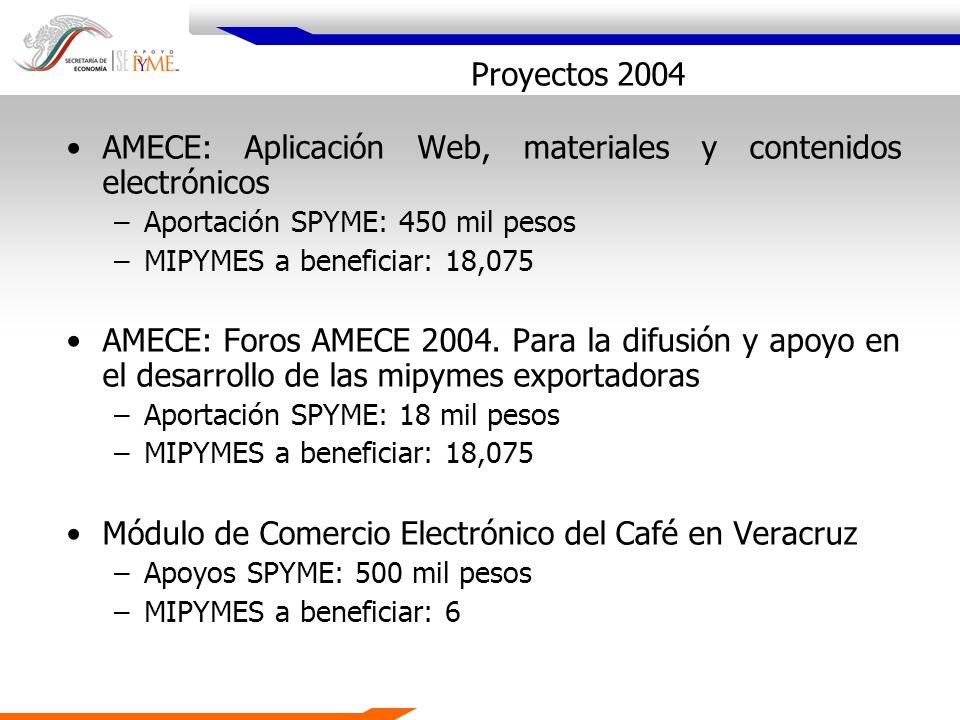 Proyectos 2004 AMECE: Aplicación Web, materiales y contenidos electrónicos –Aportación SPYME: 450 mil pesos –MIPYMES a beneficiar: 18,075 AMECE: Foros