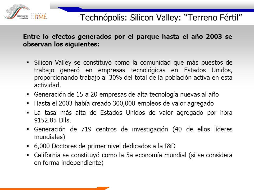 Technópolis: Silicon Valley: Terreno Fértil Entre lo efectos generados por el parque hasta el año 2003 se observan los siguientes: Silicon Valley se c
