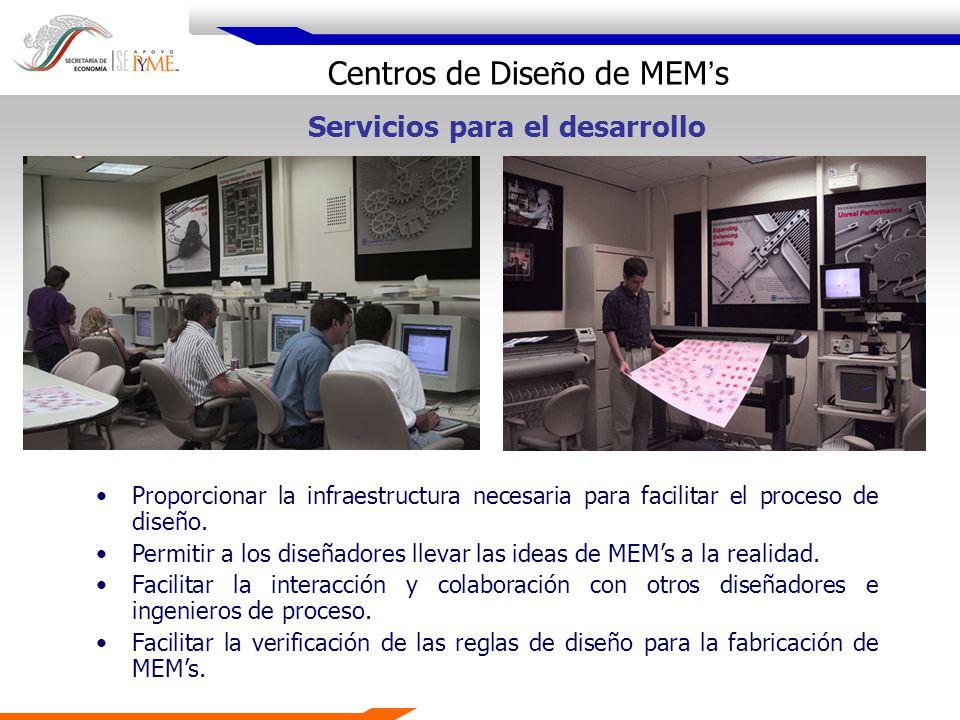 Centros de Dise ñ o de MEM s Proporcionar la infraestructura necesaria para facilitar el proceso de diseño. Permitir a los diseñadores llevar las idea