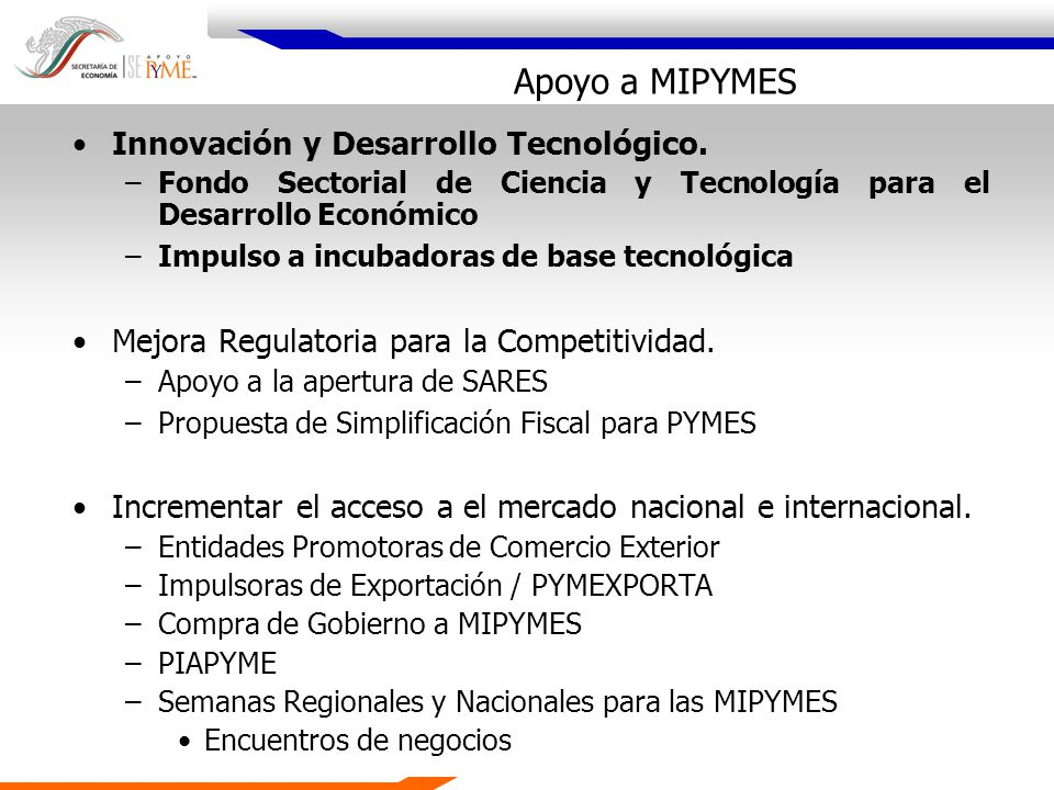 Apoyos de la SPYME para la I&D de las MIPYMES Fondos PYME Total: 117.9 millones de pesos * Incluye Incubadoras de Nuevos Negocios de Alta Tecnología Fuente: SPYME Apoyos Fondos PYME para la I&D