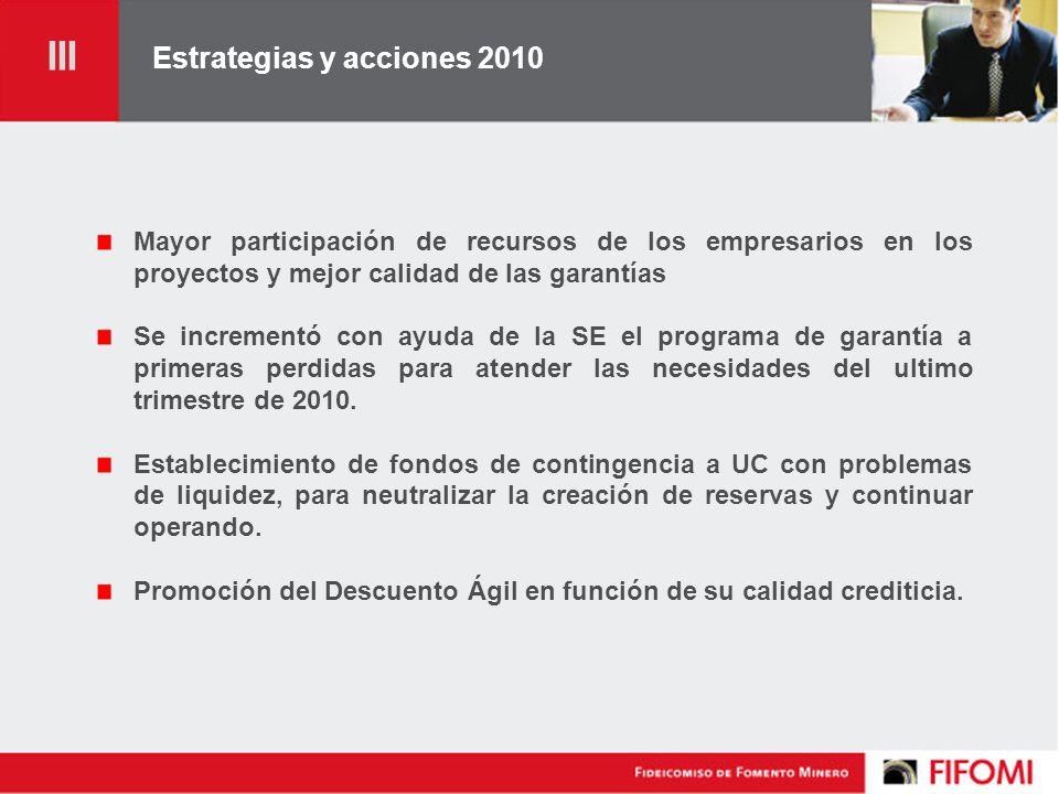 Estrategias y acciones 2010 Mayor participación de recursos de los empresarios en los proyectos y mejor calidad de las garantías Se incrementó con ayuda de la SE el programa de garantía a primeras perdidas para atender las necesidades del ultimo trimestre de 2010.