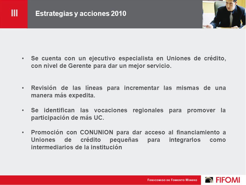 Estrategias y acciones 2010 Se cuenta con un ejecutivo especialista en Uniones de crédito, con nivel de Gerente para dar un mejor servicio.