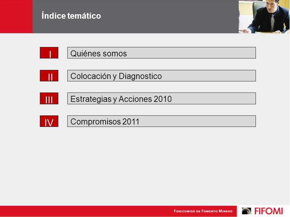 Índice temático Compromisos 2011 IV III II Estrategias y Acciones 2010 I Quiénes somos Colocación y Diagnostico